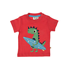 Buy Frugi Baby Surfer Dino Motif T-Shirt, Red Online at johnlewis.com