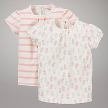 Buy John Lewis Stripe & Floral Print T-Shirts, Pack of 2, Pink/Cream Online at johnlewis.com