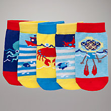 Buy John Lewis Nautical Monkey Socks, Pack of 5, Multi Online at johnlewis.com