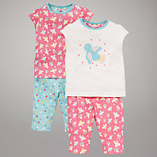 Buy John Lewis Patterned Bluebird Pyjamas, Pack of 2, Pink/Blue Online at johnlewis.com