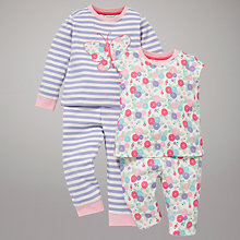 Buy John Lewis Floral and Butterfly Pyjamas, Pack of 2, White/Multi Online at johnlewis.com