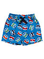 Frugi Baby Campervan Print Beach Shorts, Blue