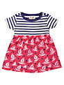 Frugi Baby Boat & Stripe Print Body Dress, Red/Blue
