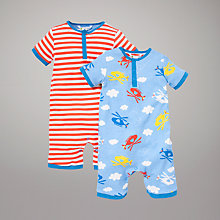 Buy John Lewis Helicopter & Stripe Rompers, Pack of 2, Blue/Red Online at johnlewis.com