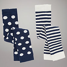 Buy John Lewis Baby Stripe & Spot Footless Tights, Pack of 2, Navy/Cream Online at johnlewis.com