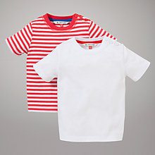 Buy John Lewis Stripe & Plain T-Shirts, Pack of 2, White/Red Online at johnlewis.com