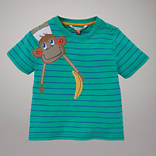 Buy John Lewis Stripe Monkey Motif T-Shirt, Green Online at johnlewis.com