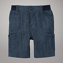 Buy John Lewis Chambray Ribbed Waistband Shorts, Navy Online at johnlewis.com