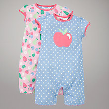 Buy John Lewis Apple & Berry Print Rompers, Pack of 2, Multi/Blue Online at johnlewis.com