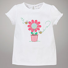 Buy John Lewis Flower Pot Motif T-Shirt, White Online at johnlewis.com