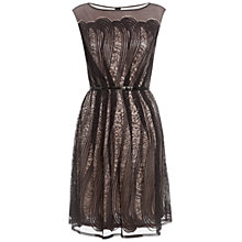 Buy Adrianna Papell Pleat Lace Dress, Black Online at johnlewis.com