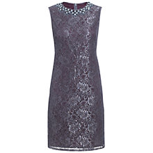Buy Adrianna Papell Lace Embellished Shift Dress, Grey Online at johnlewis.com