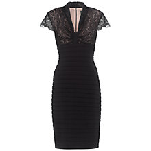 Buy Adrianna Papell Bow Front Lace Detail Dress, Black Online at johnlewis.com
