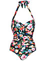 Seafolly Summer Garden Maillot, Black Floral