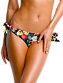 Seafolly Summer Garden Side Tie Bikini Briefs, Black Floral