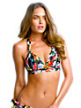 Seafolly Summer Garden Moulded Bikini Top, Black Floral