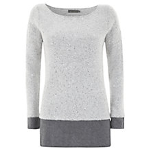 Buy Mint Velvet Sequin Layer Knit Jumper, Grey Online at johnlewis.com