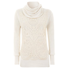 Buy Mint Velvet Lace Panel Cowl Knit, Neutrals Online at johnlewis.com