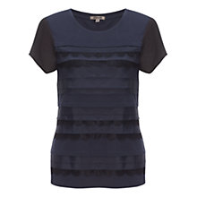 Buy Jigsaw Lace Pleat T-Shirt, Navy Online at johnlewis.com