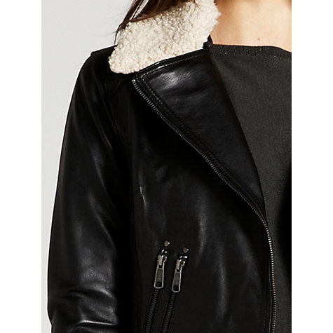 Buy Mint Velvet Leather Aviator Jacket, Black Online at johnlewis.com