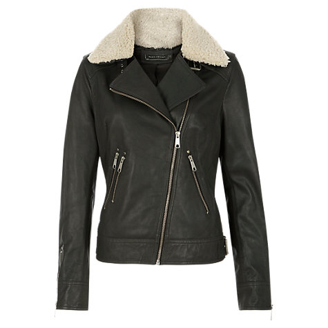Buy Mint Velvet Leather Aviator Jacket, Granite Online at johnlewis.com