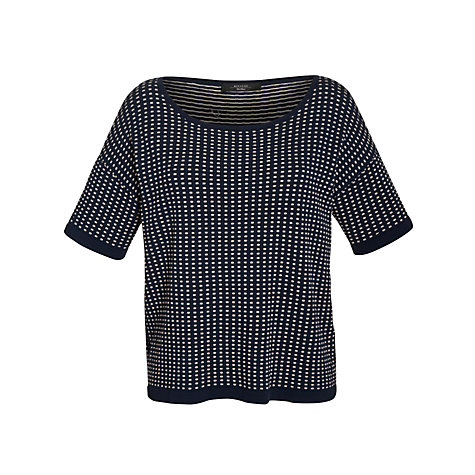 Buy Weekend by MaxMara Textured Short-Sleeve Jumper, Navy Online at johnlewis.com