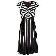 Buy Jacques Vert Monochrome Banded Dress, Black Online at johnlewis.com