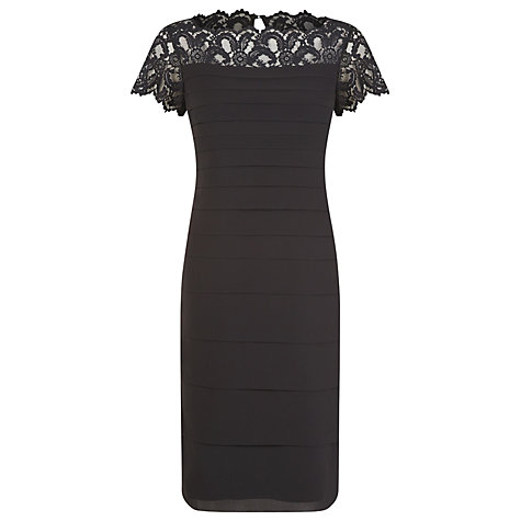 Buy Jacques Vert Lace Yoke Chiffon Dress, Black Online at johnlewis.com