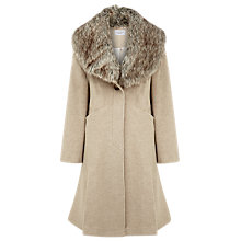 Buy Kaliko Faux Fur Collar Classic Coat, Neutrals Online at johnlewis.com