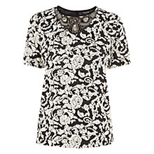 Buy Warehouse Patterned Jewel Neck Jacquard Top, Black Online at johnlewis.com