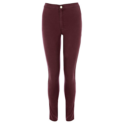Buy Warehouse High Rise Skinny Jeans, Berry Online at johnlewis.com