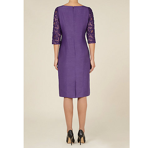 Buy Jacques Vert Lace Sleeve Dress, Purple Online at johnlewis.com