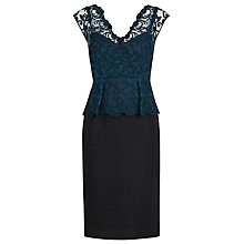 Buy Alexon Lace Peplum Dress, Green Online at johnlewis.com