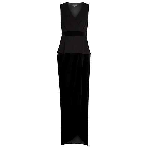 Buy Alexon Velvet and Crepe Peplum Maxi Dress, Black Online at johnlewis.com