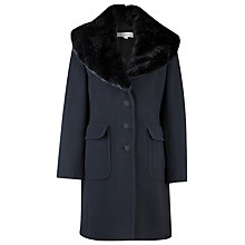 Buy Kaliko Faux Fur Collar Classic Coat, Black Online at johnlewis.com