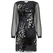Buy Kaliko Floral Devore Dress, Black Online at johnlewis.com