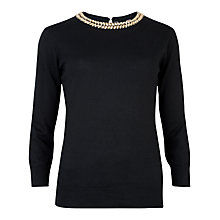 Buy Ted Baker Tahin Embellished Neck Jumper, Black Online at johnlewis.com