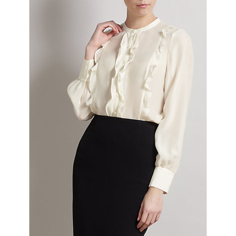 Buy Somerset by Alice Temperley Frill Silk Blouse, Cream Online at johnlewis.com