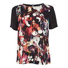 Buy Warehouse Blurred Floral Print Tee, Multi Online at johnlewis.com