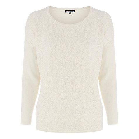 Buy Warehouse Quilted Jacquard Jumper, Cream Online at johnlewis.com