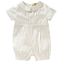 Buy John Lewis Baby Silk Button Christening Romper, Cream Online at johnlewis.com