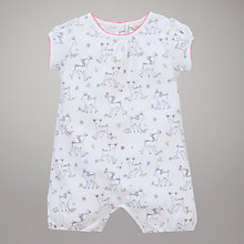 Buy John Lewis Baby Deer Print Romper, White Online at johnlewis.com