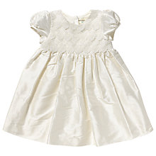 Buy John Lewis Lace Silk Christening Dress, Cream Online at johnlewis.com