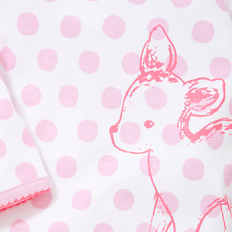 Buy John Lewis Baby Polka Dot Deer Print Sleepsuit, Pink Online at johnlewis.com