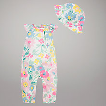 Buy John Lewis Baby Floral Romper & Hat, Multi Online at johnlewis.com