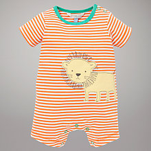 Buy John Lewis Baby Stripe Lion Motif Romper, Orange Online at johnlewis.com