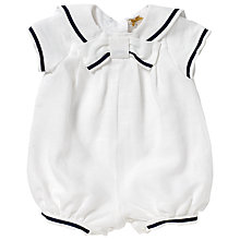 Buy John Lewis Linen Sailor Christening Romper, White Online at johnlewis.com