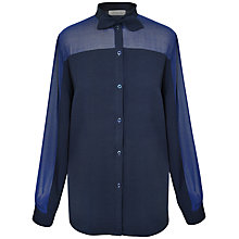 Buy Paisie Bow Collar Shirt, Navy Online at johnlewis.com