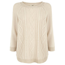 Buy Oasis Stitch Ditch Hem Jumper, Neutrals Online at johnlewis.com