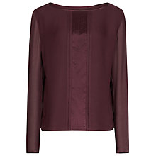 Buy Reiss Rose Silk Pintuck Detail Top, Burgundy Online at johnlewis.com